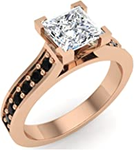 Black & White Princess Cut Diamond Engagement Ring 14K Gold 1.00 ct tw (J,I1)