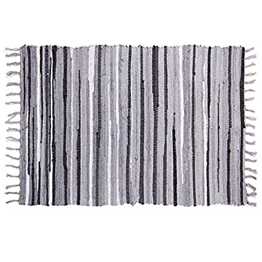 OJIA Cotton Reversible Rag Rug Hand Woven Multi Color Striped Chindi Area Rug Entryway For Laundry Room Kitchen Bathroom Bedroom Dorm (2'4  x 4', Grey)