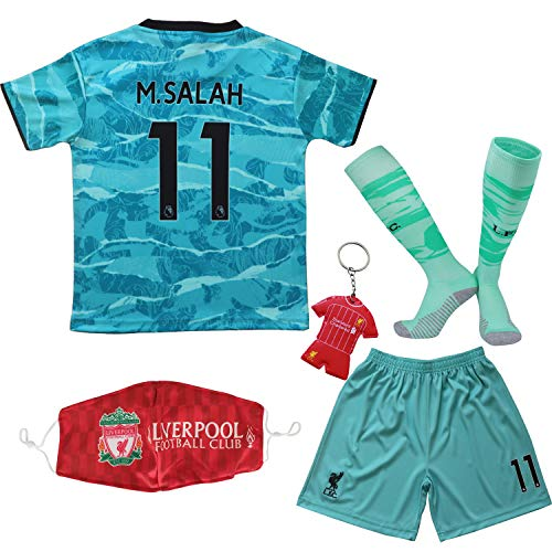 Necm 2020/2021 Liverpool Away #11 Mo Salah Soccer Kids Jersey Shorts Socks Set Youth Sizes (Away, 24)