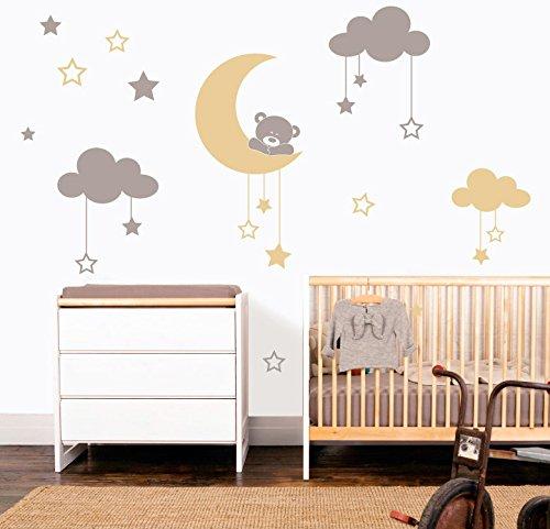 MYVINILO - Vinilo Decorativo Infantil - Moon Bear/Plata/Beige (120 x 100 cm)