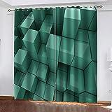 Ageeseso® Cortina 3D De Dormitorio Celosía Cuadrada Abstracta...