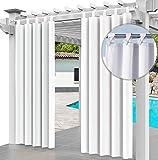 Outdoor Vorhang 2er Set Schlaufengardine 220 x 155 cm Gartenlauben Balkon-Vorhänge Gardinen Verdunkelungsvorhänge mit Schlaufen, Vorhang Wasserdicht für Pavillon Strandhaus (2 Panele) Weiß [129]