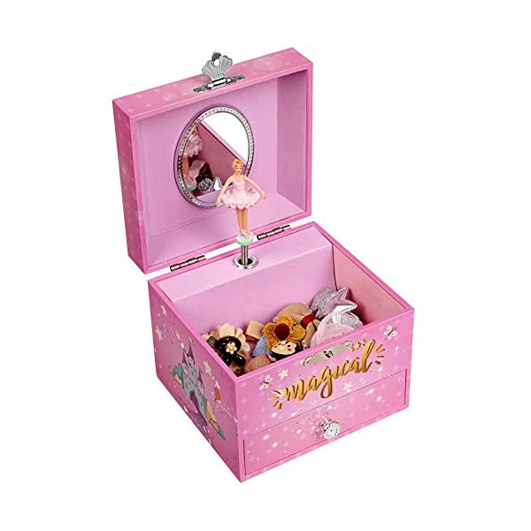 "SONGMICS Musical Jewelry Box, 4.7""L x 4.3""W x 3.9""H, Pink 10"