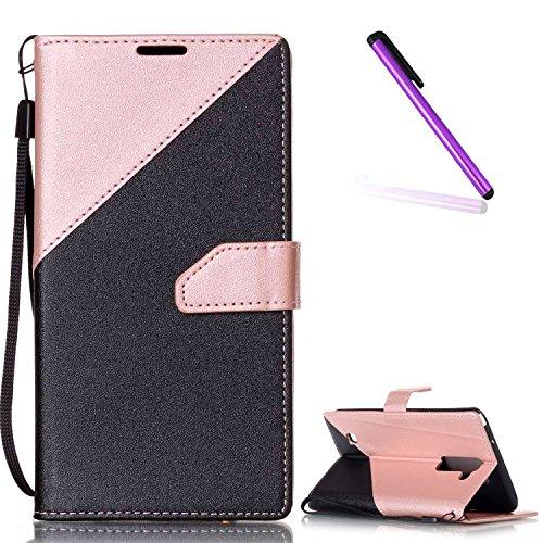 EMAXELERS LG Stylus 2 Hülle Elegant Cute PU Leder Lederhülle Flip Tasche Wallet Schutzhülle Etui Bookstyle Handyhülle Hülle für LG G Stylo 2 K520 / LS775,Pink Triangle and Black