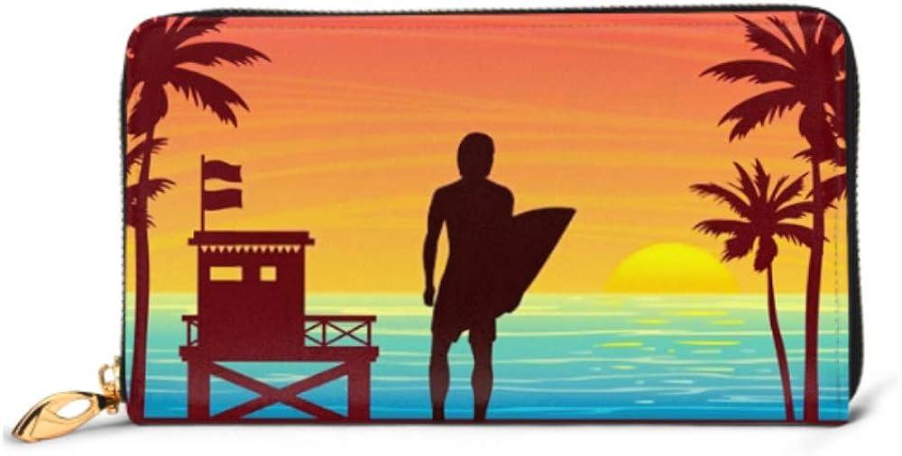 Fashion Handbag Zipper Wallet Nature Landscape Silhouette Surfer Lifeguard Station Phone Clutch Purse Evening Clutch Blocking Leather Wallet Multi