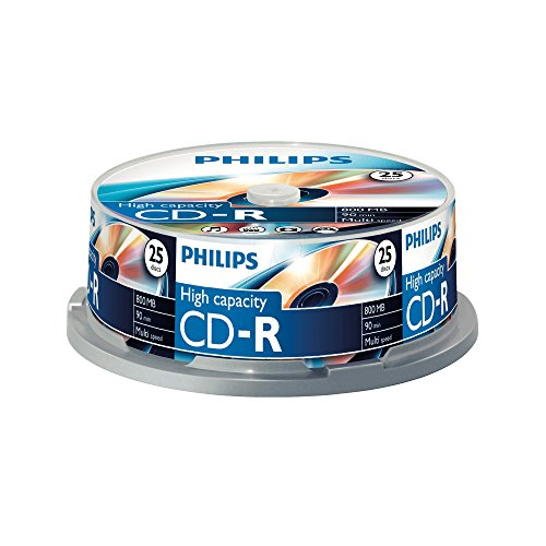 Philips CD-R Rohlinge (800 MB Data/ 90 Minuten, Multi Speed Aufnahme, 25er Spindel)