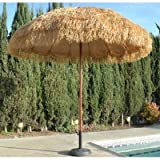 NEW 8' Wide Hawaiian Tiki Design Beach Umbrella w Fiberglass Rib & Aluminum Pole