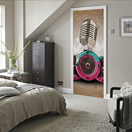3D Deur Mural Sticker Microfoon Patroon Jongen Meisje Slaapkamer, Keuken, Waterdichte zelfklevende Home Decoratie Deur Sticker Vinyl Sticker 90x210cm