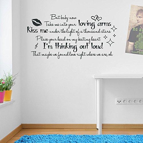 Autocollant mural en vinyle avec paroles de la chanson « Thinking Out Loud Ed Sheeran Thinking Out Loud »