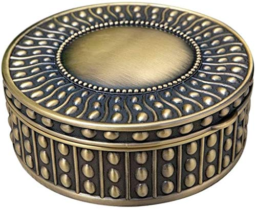 KEEBON Jewellery Box Organiser European-style Simple Bead Point Jewelry Storage Box Metal Round Seal Handle Collection Box for Girls Ladies Women (Color : Bronze, Size : 14X14X5.5CM)