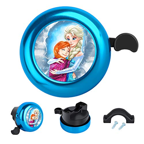 DISNEY COLLECTION Bicycle Bell Disney Princess Cute Fashion Aluminum Bike Bell Ring Loud Clear Sound Bike Accessories for Adults Kids Girls Boys Women Blue