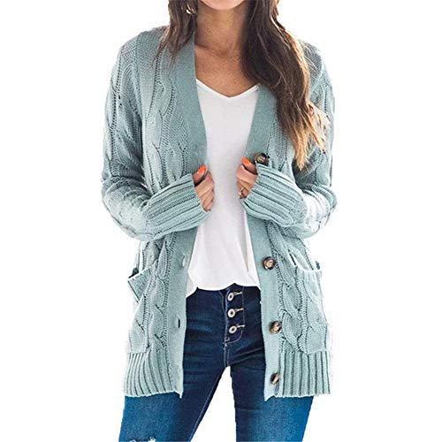 ZFQQ Autumn and Winter Women's Casual V-Neck Single-Breasted Twist Knit Sweater Coat Cardigan Sweater Light Blue