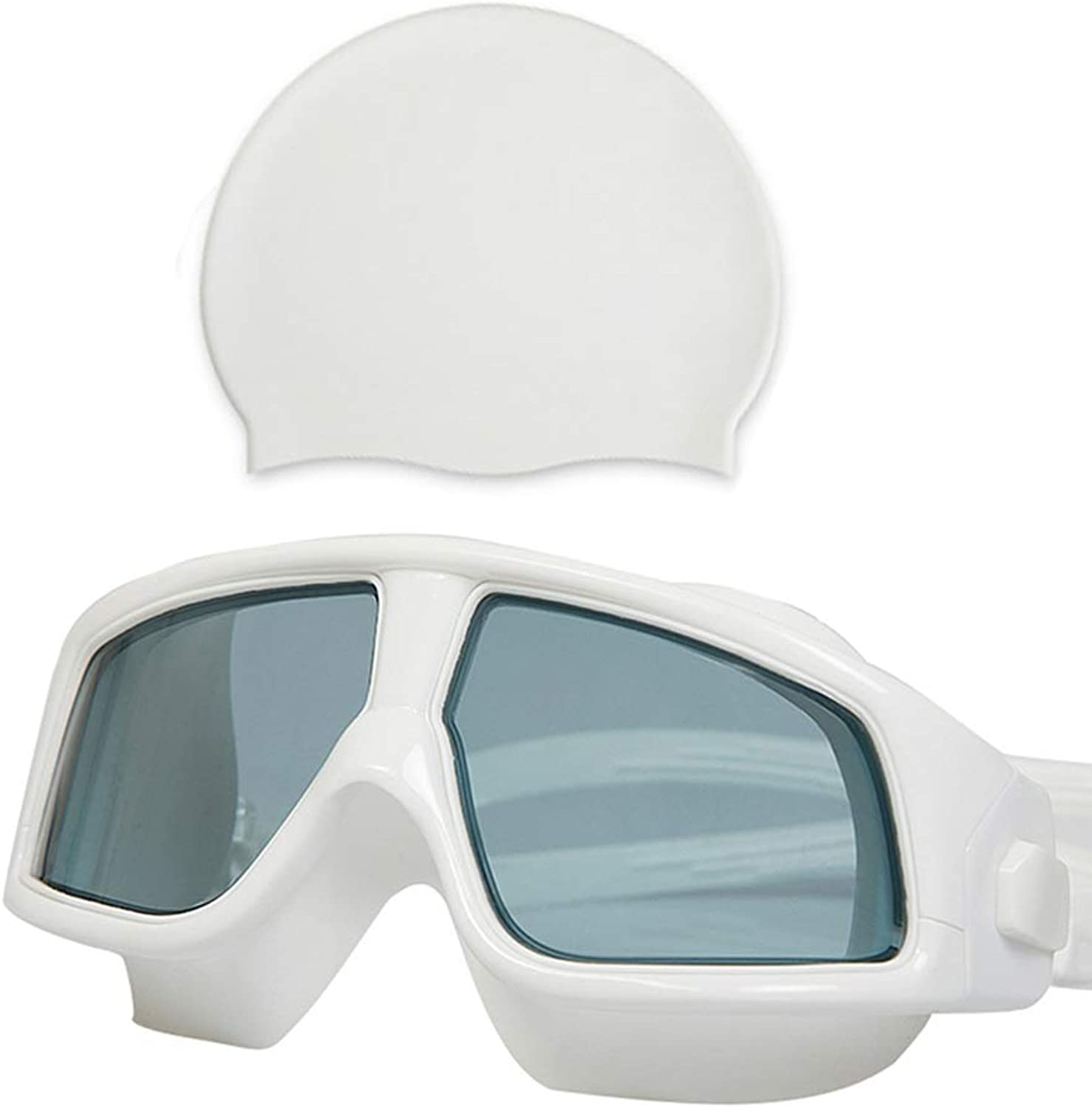 Swimming Goggles for Men and Women Youth Large Frame Waterproof AntiFog HD Goggles (color   White, Size   B)