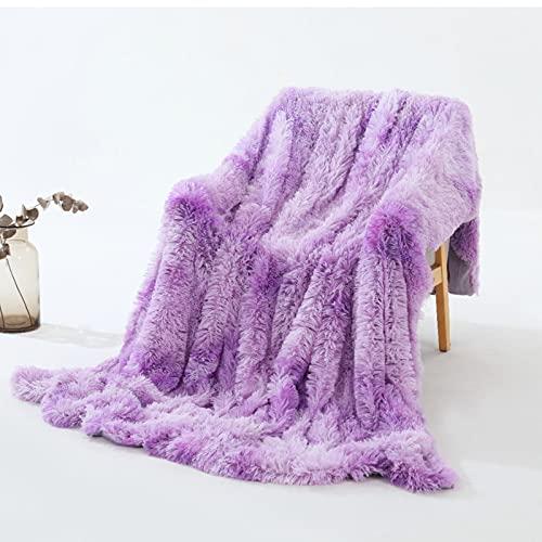 XKMY Manta para sofá de felpa, súper suave, colorida funda de sofá de piel peluda, cálida manta (color: B, tamaño: 130 x 160 cm)