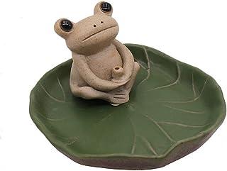 DMtse Handmade Ceramic Mini Frog and Lotus Leaf Tray Stick Incense Burner Holder Small Frog Cute Animal Statue Home Decora...
