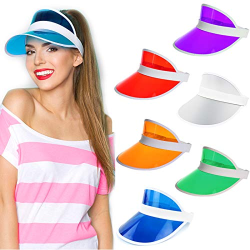 Ultrafun Unisex Candy Color Sun Visors Hats Plastic Clear UV Protection Cap for Sports Outdoor Activities (6pcs)