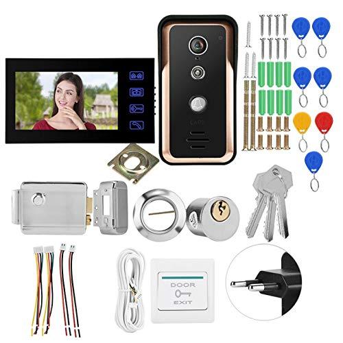 Monitores de 7 pulgadas Videoportero con cable RFID Cámara IR(European standard (100-240v))