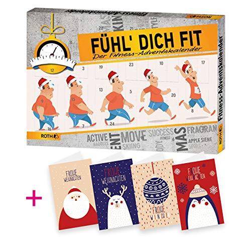 itenga AktionsSet13 1x Roth gefüllter Adventskalender Fühl Dich Fit + 4 Weihnachtskarten Klappkarten