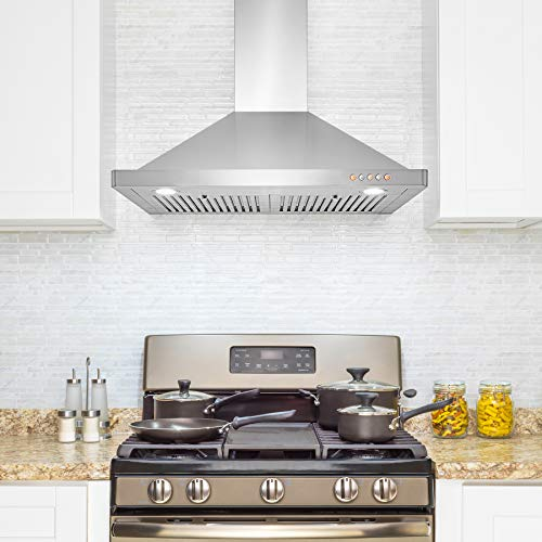 AKDY Wall Mount Range Hood – Stainless-Steel Hood Fan for Kitchen – 3-Speed Professional Quiet Motor – Premium Push Control Panel – Modern Design – Baffle Filter & LED & Carbon Filters (30 in.)