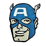 Retro Marvel Captain America Head IronOn Patch DIY Superhero Apparel Applique