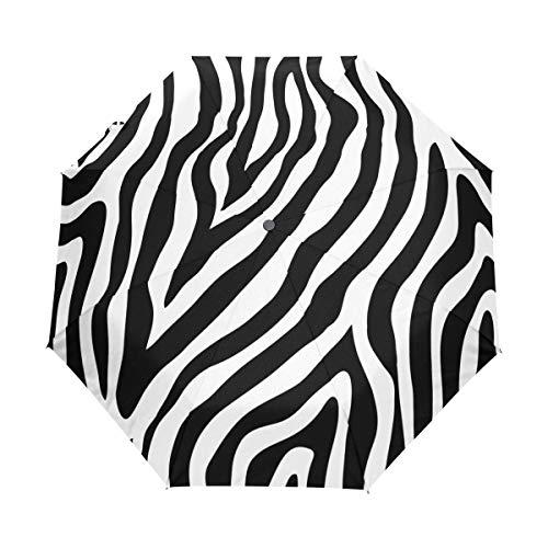 QMIN Paraguas plegable automático con estampado de piel de animal de cebra, resistente al viento, protección UV, para viajes, compacto, para mujeres, hombres, niñas