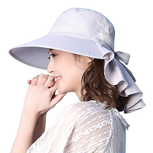 Womens Sun Protection Hats Summer Gardening Fishing Hiking Shade Hat SPF 50 Wide Brim Packable Large Gray