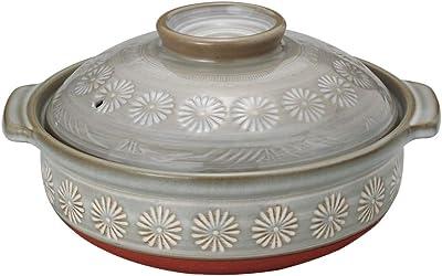 山下工芸 土鍋 陶器 27.5×φ24.5×14cm(身8cm) 銀峯三島8号IH鍋 プレート式 15032180