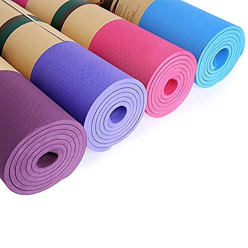 ZIQI Yoga Matters Mats, Antideslizante 6mm Grueso TPE Yoga Mat para Todo Tipo de Yoga, Gimnasio de Fitness, Tamaño de la Estera elástica 183 x 61 X 0.6cm