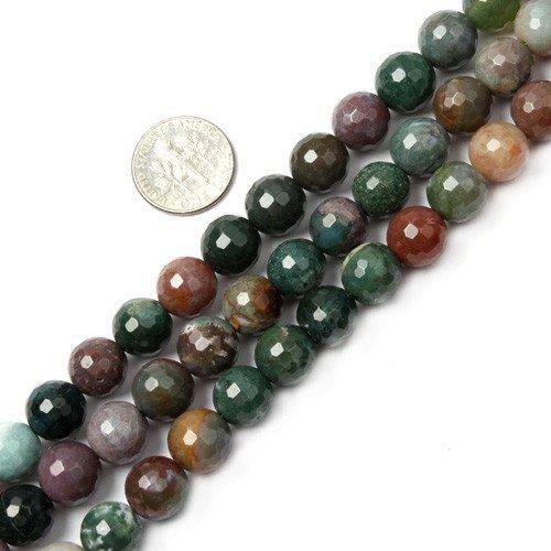 Sweet & Happy Girl's Store Kettenstrang mit Perlen aus indischem Achat zur Fertigung von Schmuck, 38,1°cm, Achat, Mehrfarbig (facettierter Achat, 10 mm)