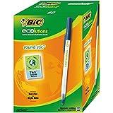 BIC Round Stic ECOlutions Bolígrafos de Punta Media (1,0 mm) – Azul, Caja de 60 unidades - Fabricados con un 74% de materiales reciclados