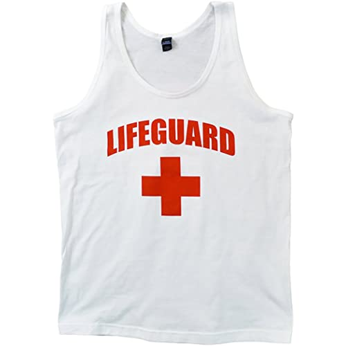 d2db170ec14bc Life Guard Tank Top - Unisex Slightly Fitted White With Red Cross