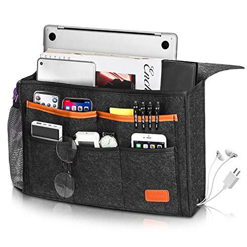 Bedside Caddy, Large Size 15.7''x9.8'' inch for Bed Storage Organizer, Bed Hanging Caddy with 8 Pockets for Laptop, Magazine, Remote Holder, using in dorm, Bed, Kids Storage Organi...