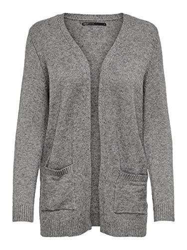Only 15174274 Chaqueta Punto, Gris (Medium Grey Melange Medium Grey Melange), 44 (Talla del Fabricante: X-Large) para Mujer