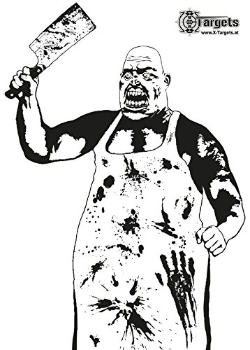 X-Targets Große Zielscheiben Zombie Butcher/Riesige 70 x 100 cm/Papier 120g/m² (20 Stück)