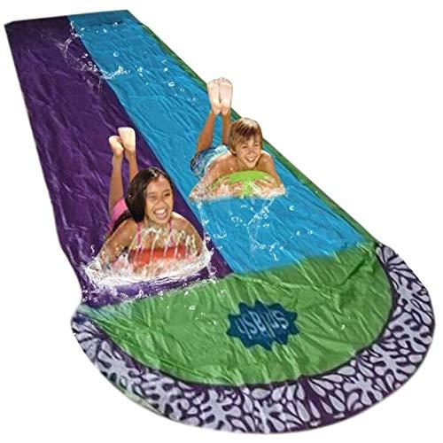 Angelay-Tian Rasenwasser-Folien, Kinder Waterslide Doppel Waterslide Outdoor-Produkte PVC-aufblasbare Wasserspielzeug 480 * 140 cm