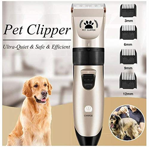 AMYD A001 Pet Dog Hair Clipper Toilettage Cat Hair Trimmer Remover Electric Pets Hair Cut Machine Shaver Electric Scissors Five Fine Tuning Speed + Four-Limit Comb Comb