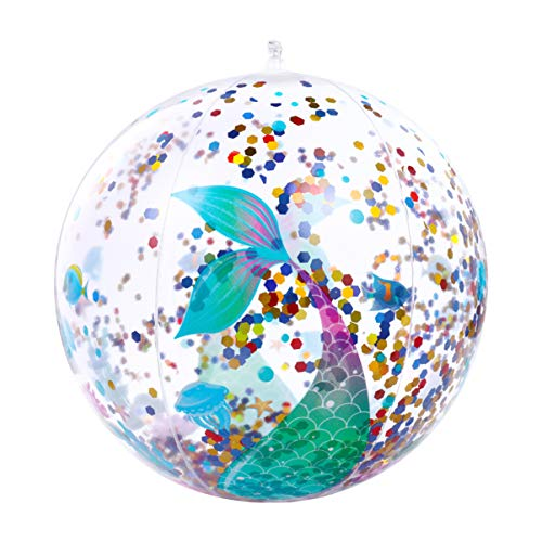 CLISPEED Inflatable Beach Ball Glitter Balls Swimming Pool Water Fun Toys (Mermaid Pattern, Pack of 2)