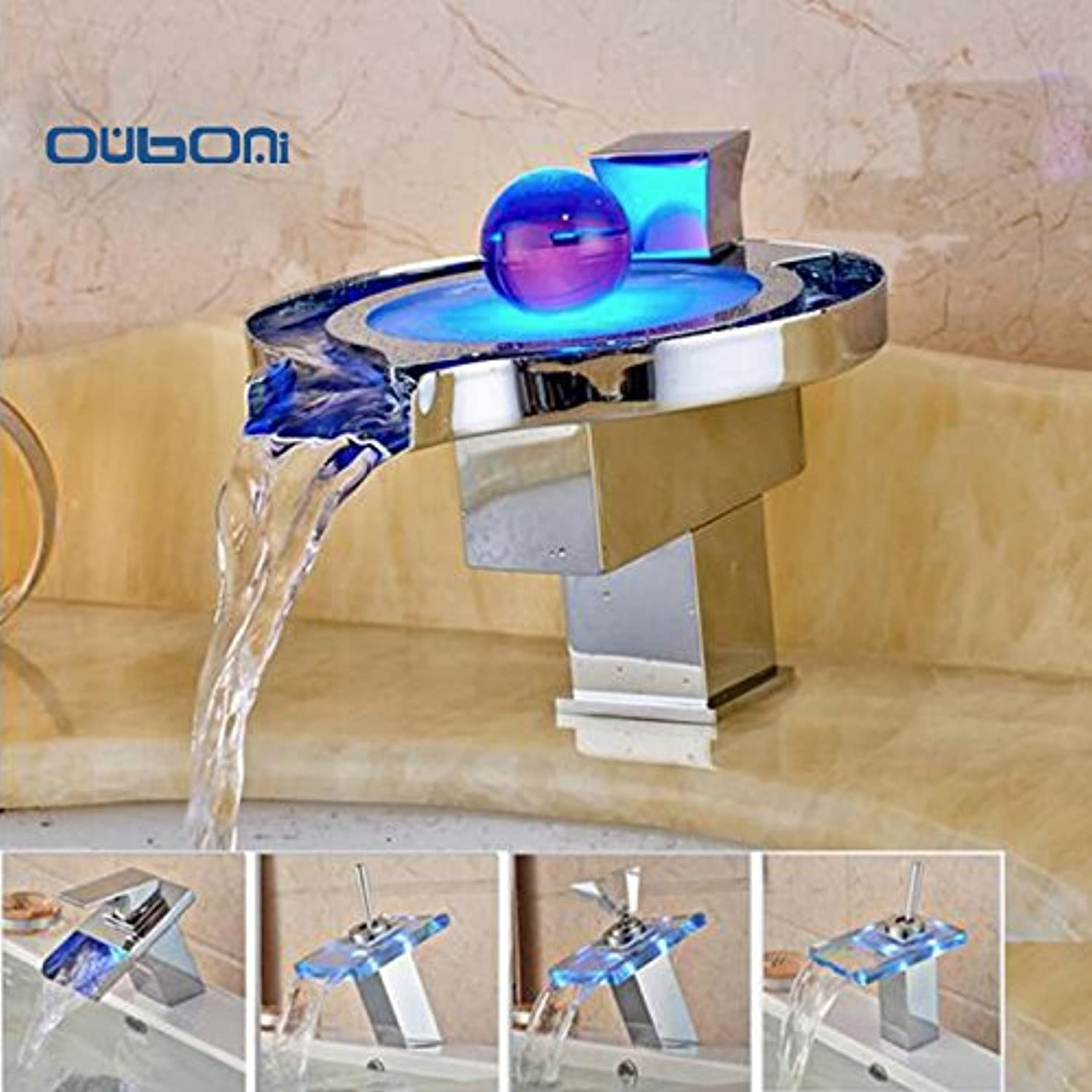 Retro Deluxe Fauceting Fashion New Deck Mounted LED Waterfall Basin Faucet Single Handle Vessel Tap Chrome Finished ,g