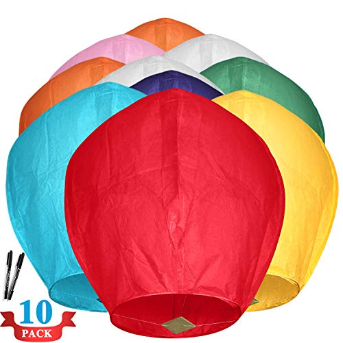 Maikerry 10 Pack Handmade Chinese Lanterns Flying Paper Lanterns Wish Lanterns...