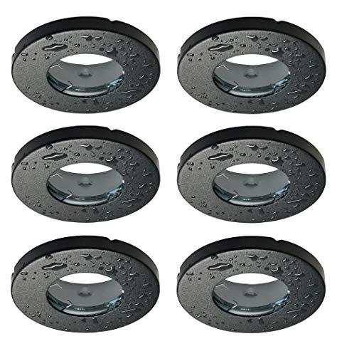 Trango Juego de 6 focos empotrables redondos IP44 6729IP-065, color negro mate, para baño, sauna, exterior o ambientes húmedos