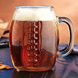 Home Essentials Extra Large Heavy -Duty Glass Drinkware Football Beer Mugs, 37oz (2 Pack) Gift Boxed.