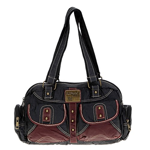 Elephant Handtasche Casual L Tasche Schultertasche Shopper 3696 // SCHWARZ