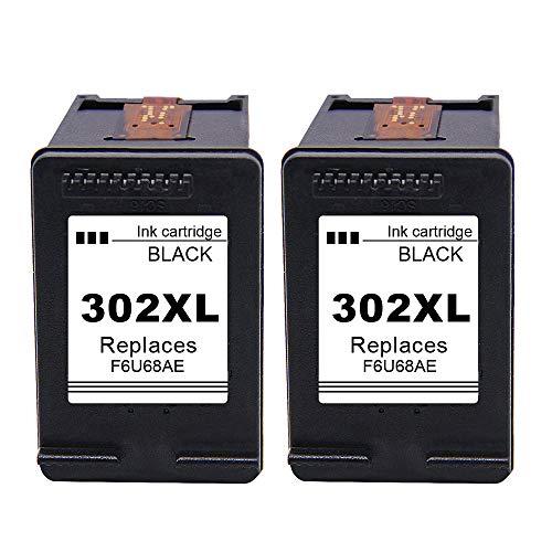 Ksera Rigenerata Cartucce d'inchiostro HP 302 302XL 2 Pacchi di Nero Cartucce di inchiostro ad alta resa sostituzioni Compatibile con HP Envy4520 / 4521/4522/4523/4524/4525/4527/4528 HP OfficeJet 3830