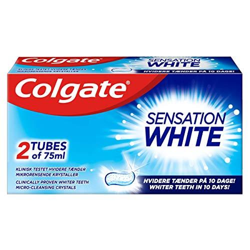 Colgate Tandkräm Sensation White, Tvåpack Fluortandkräm som Skyddar mot Karies För Vitare Tänder - 75 ml i 2-Pack