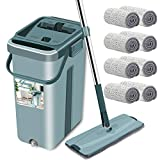 Floor Mop with Bucket - Aifacay Upgrade Hands-Free Squeeze Microfiber Flat Mop System 360° Flexible Head Mop with 8 Reusable Microfiber Pads, 59.8'' Extended Stainless Steel Handle for Floor Cleaning