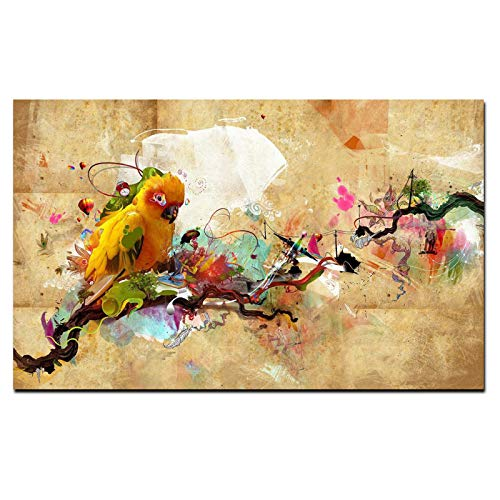 N / A Canvas Painting Wall Art Two Gray Crowned Crane Picture Print Classic Animal Bird Poster Living Room Home Decoration Frameless 60cmx90cm