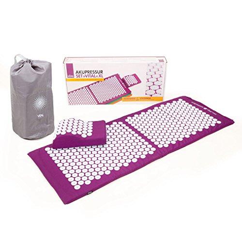 BODHI Akupressur-Set Vital XL: Akupressurmatte (130 x 50cm) & Akupressurkissen | inkl. Tasche | vitalisierend für den Rücken und Kissen für den Nacken | wohltuende Entspannungsmatte (aubergine)