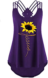 Womens Tanks Tops Summer Sleeveless Criss Cross Lace Up Tops Jesus Sunflower Print Casual T Shirts Blouse