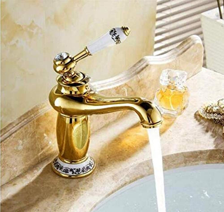 Chrome Vintage Messing Bad Wasserhahn Gold Finish Hot & Cold Messing Becken Waschbecken Wasserhahn Einzigen Griff Mit Keramikhhne