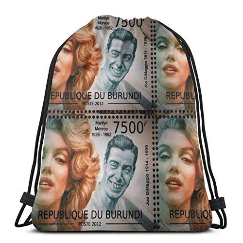Briefmarke Marilyn und Joe Digital Edit Collector Print Vintage 50er Jahre Retro Print Norma und Joe Sport Sackpack Kordelzug Rucksack Gym Bag Sack